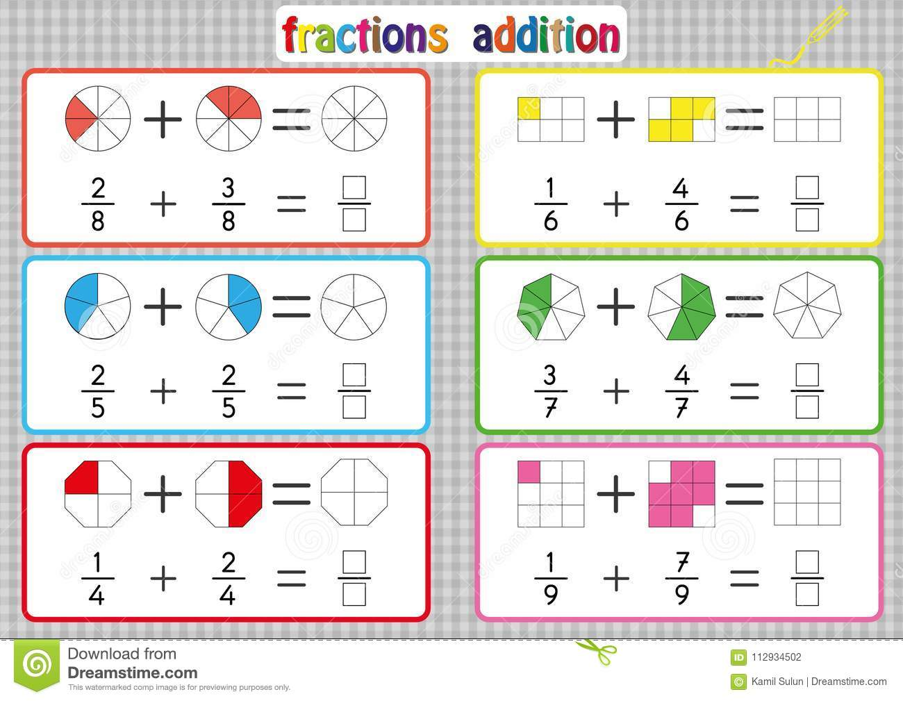 Addition Worksheet Fraction Stick