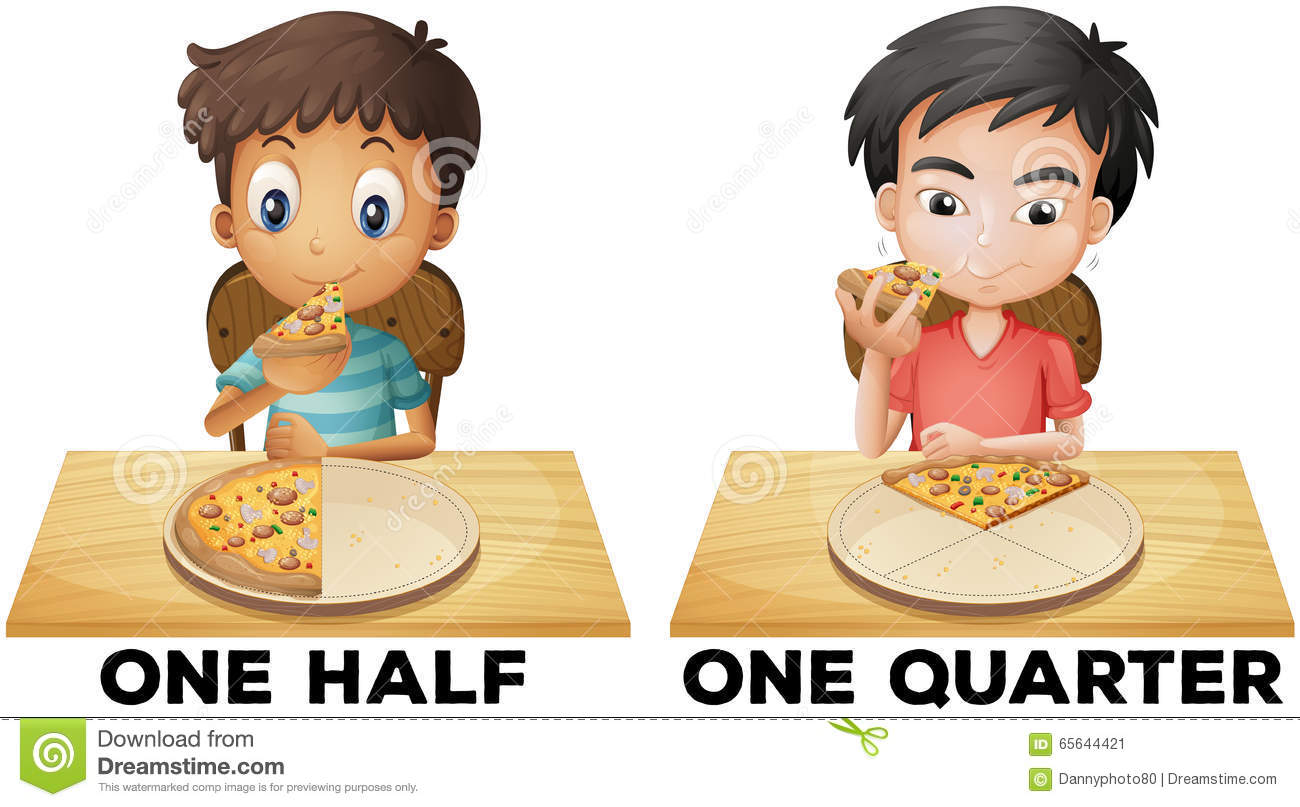 Fractions One Half And One Quarter Stock Vector