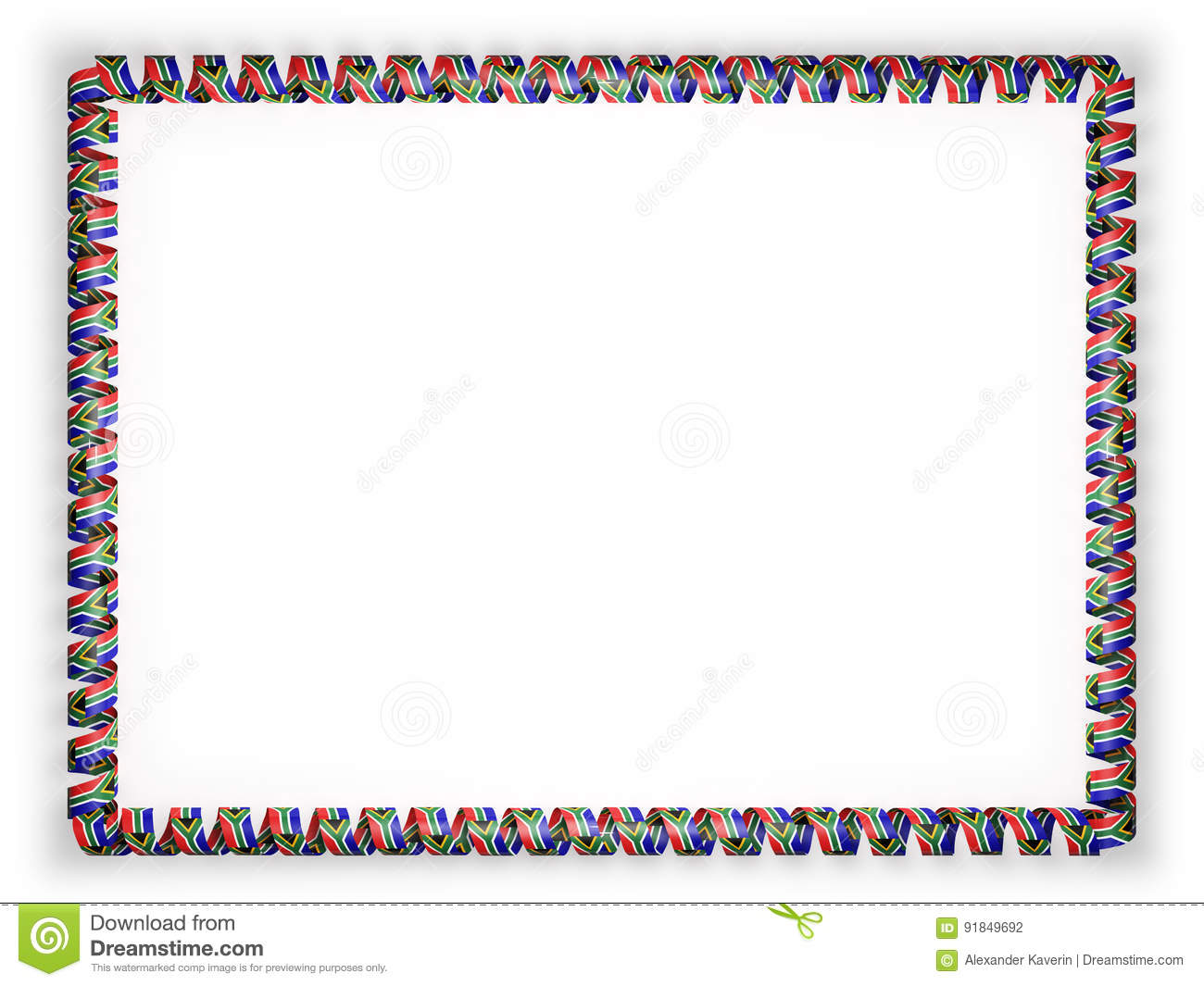 Frame And Border Of Ribbon With The South Africa Flag 3d