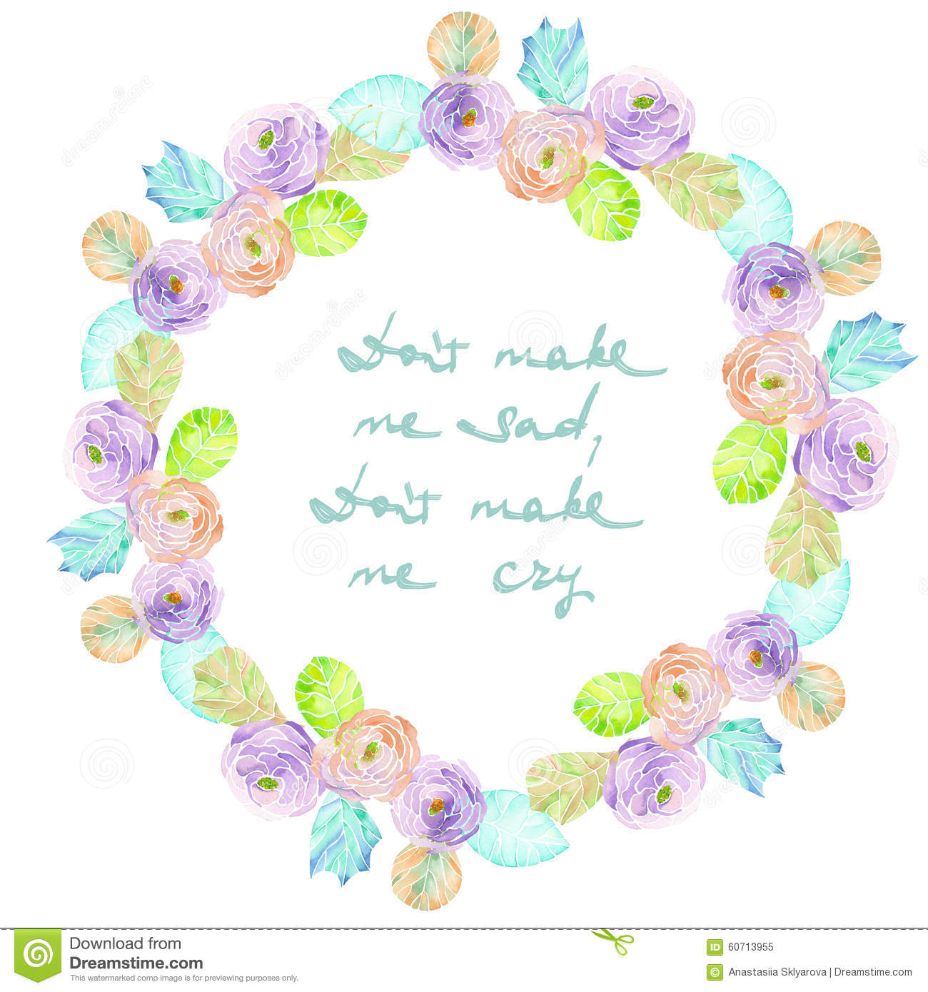 Frame Border Wreath Of Purple And Pink Flowers Blue And