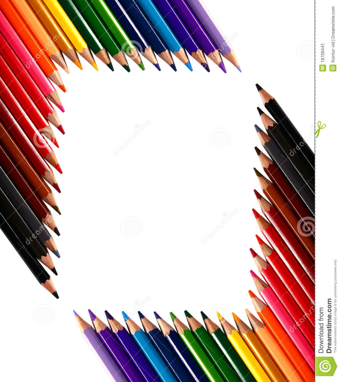 Frame Made Out Of Crayons Coloured Pencils Stock Image