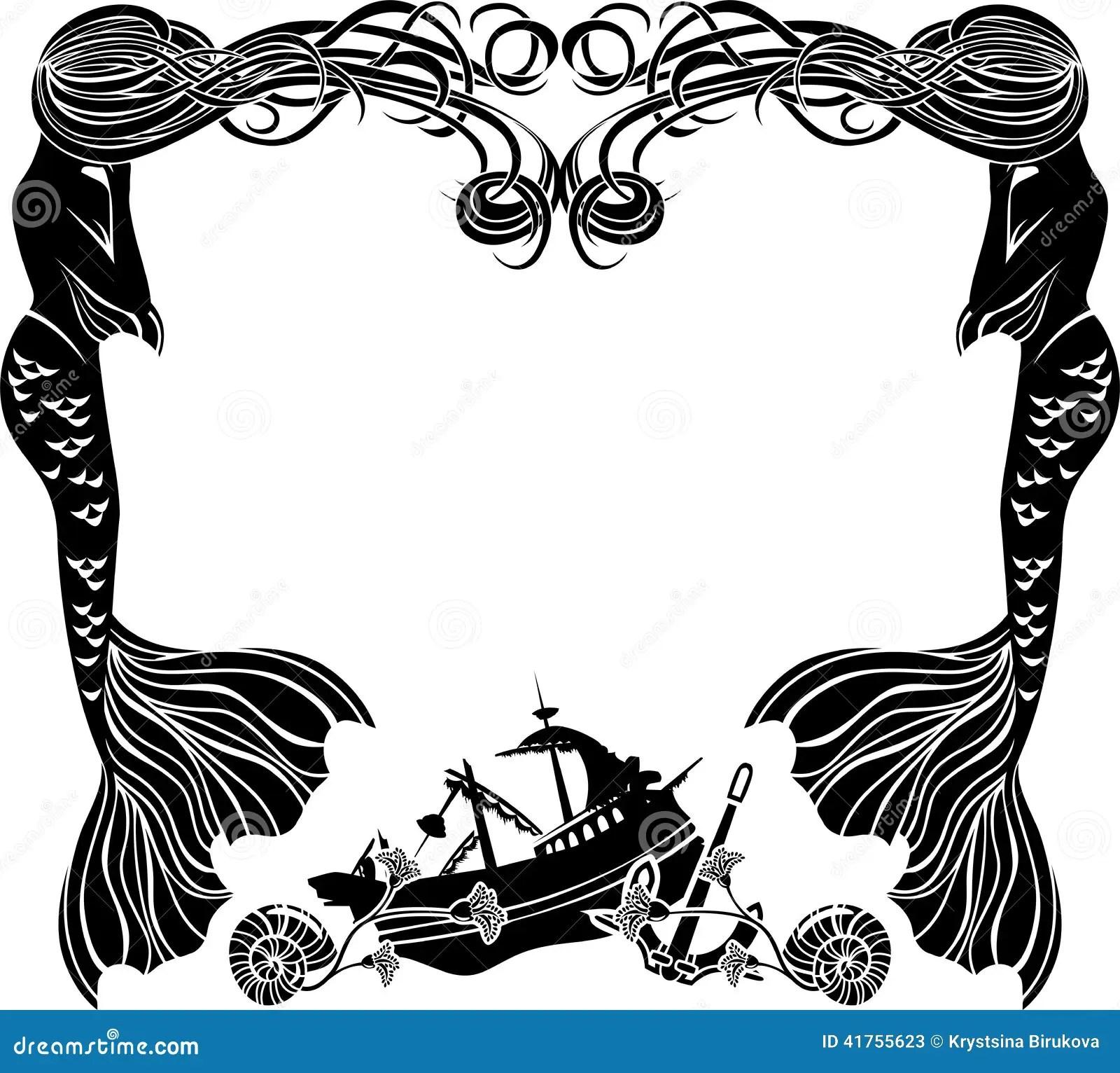 Frame Mermaids Weep Shipwreck Stock Vector