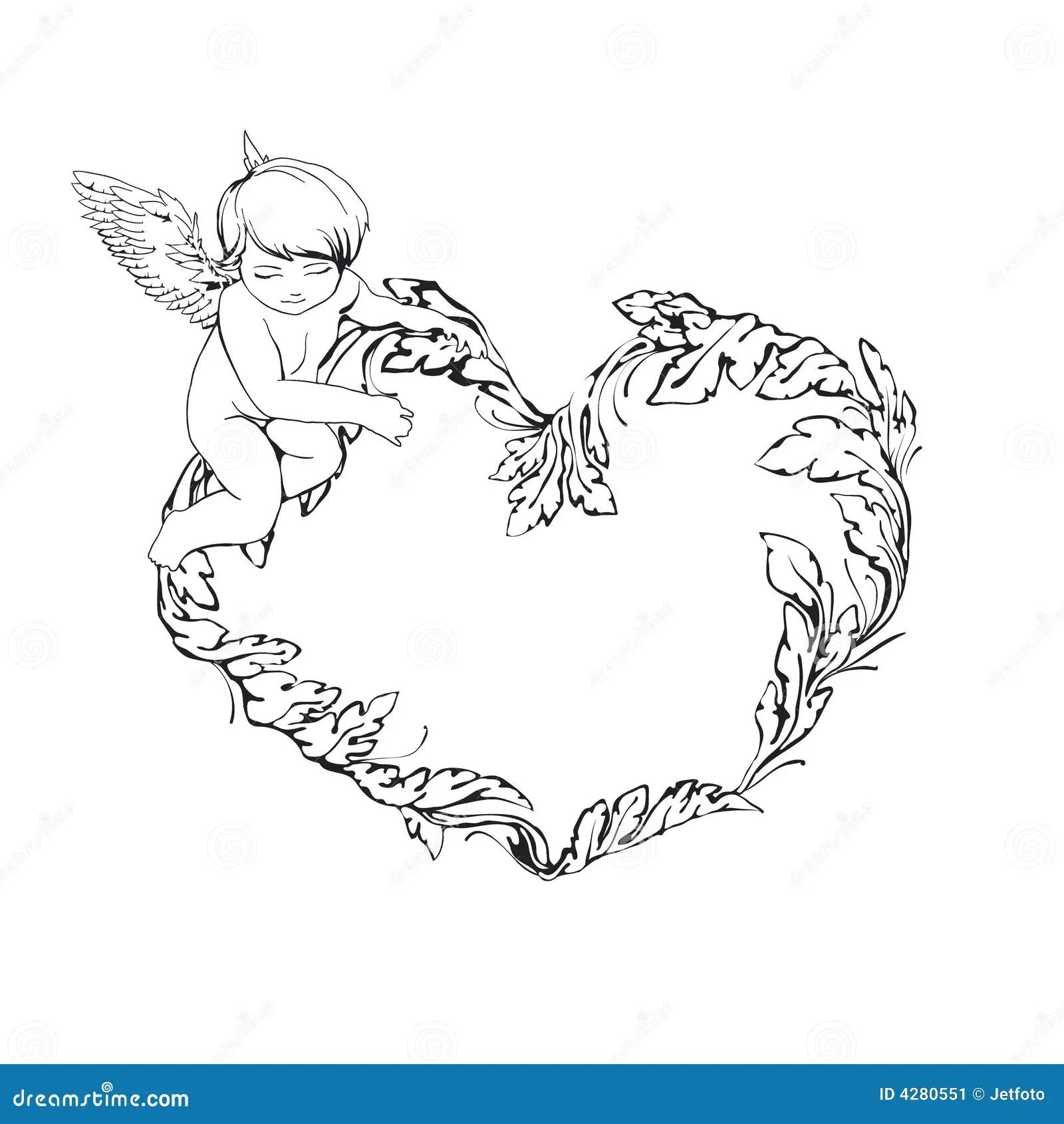 Frame Met Engel En Hart Vector Illustratie Illustratie