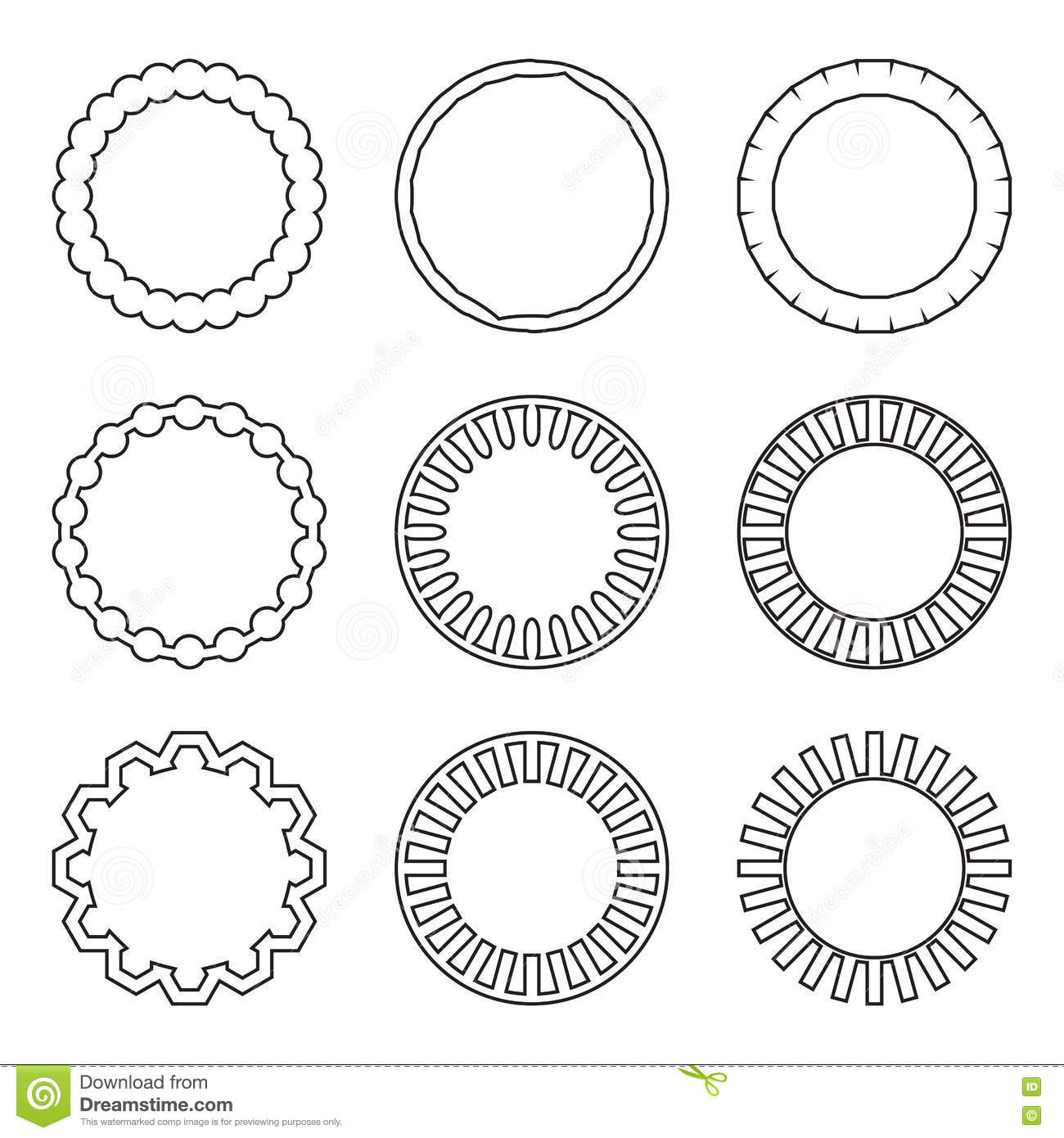 Frame Set Linear Style Illustration Stock Vector