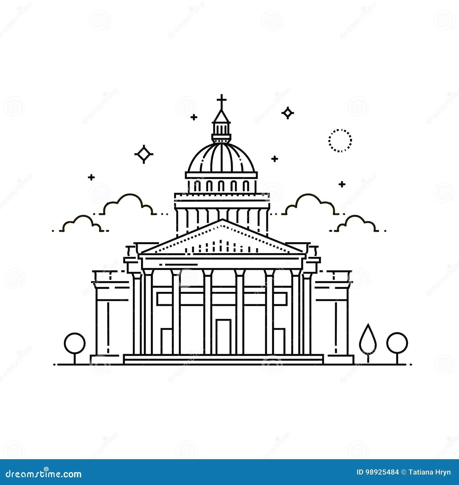 Franca Paris Panteao Ilustracao Do Curso Do Vetor