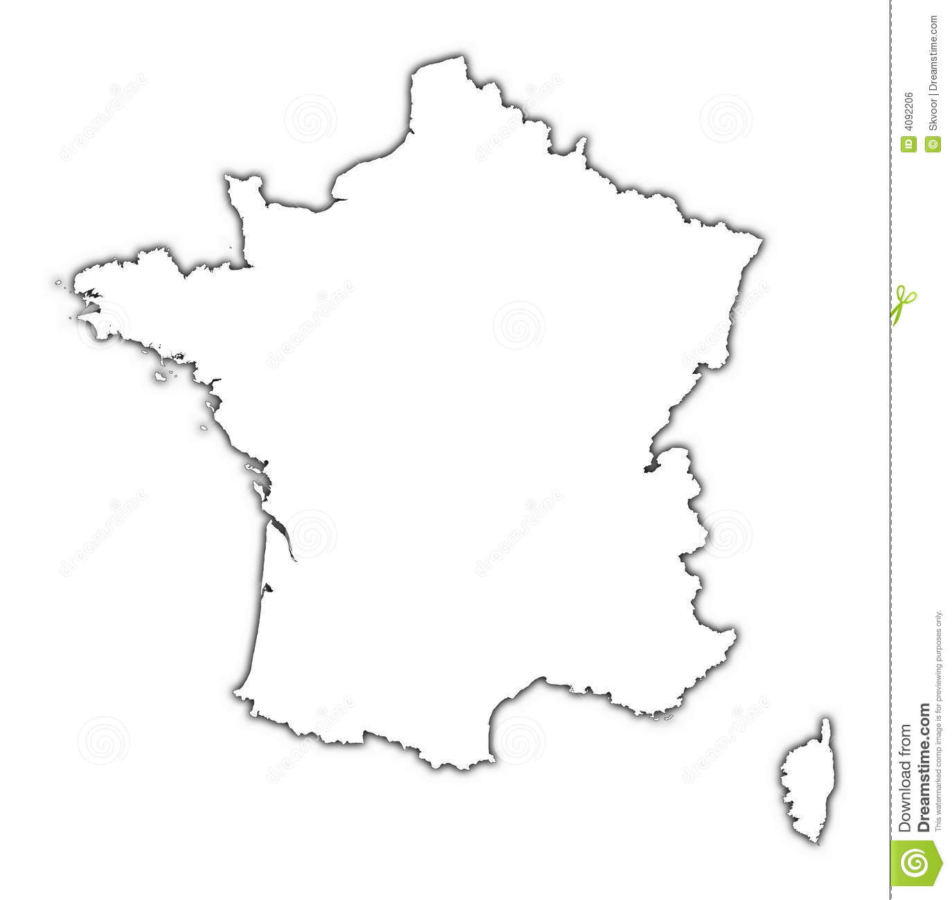 France Map With Shadow Royalty Free Stock Image
