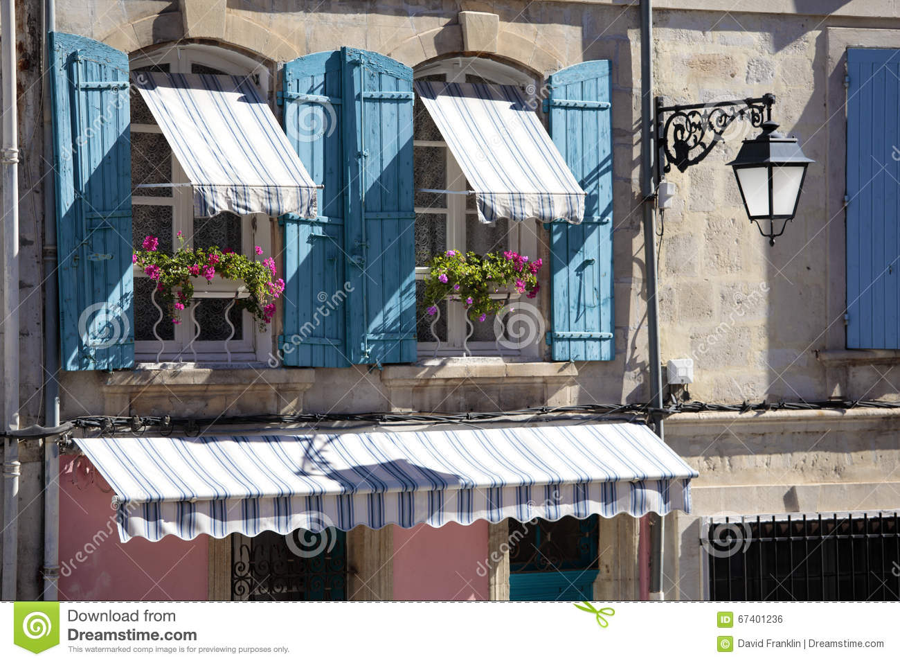 France Provence Style Village Cottage Windows Blue Shutters