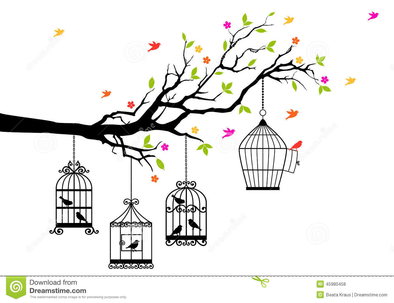 Free Birds And Birdcages Vector Stock Vector