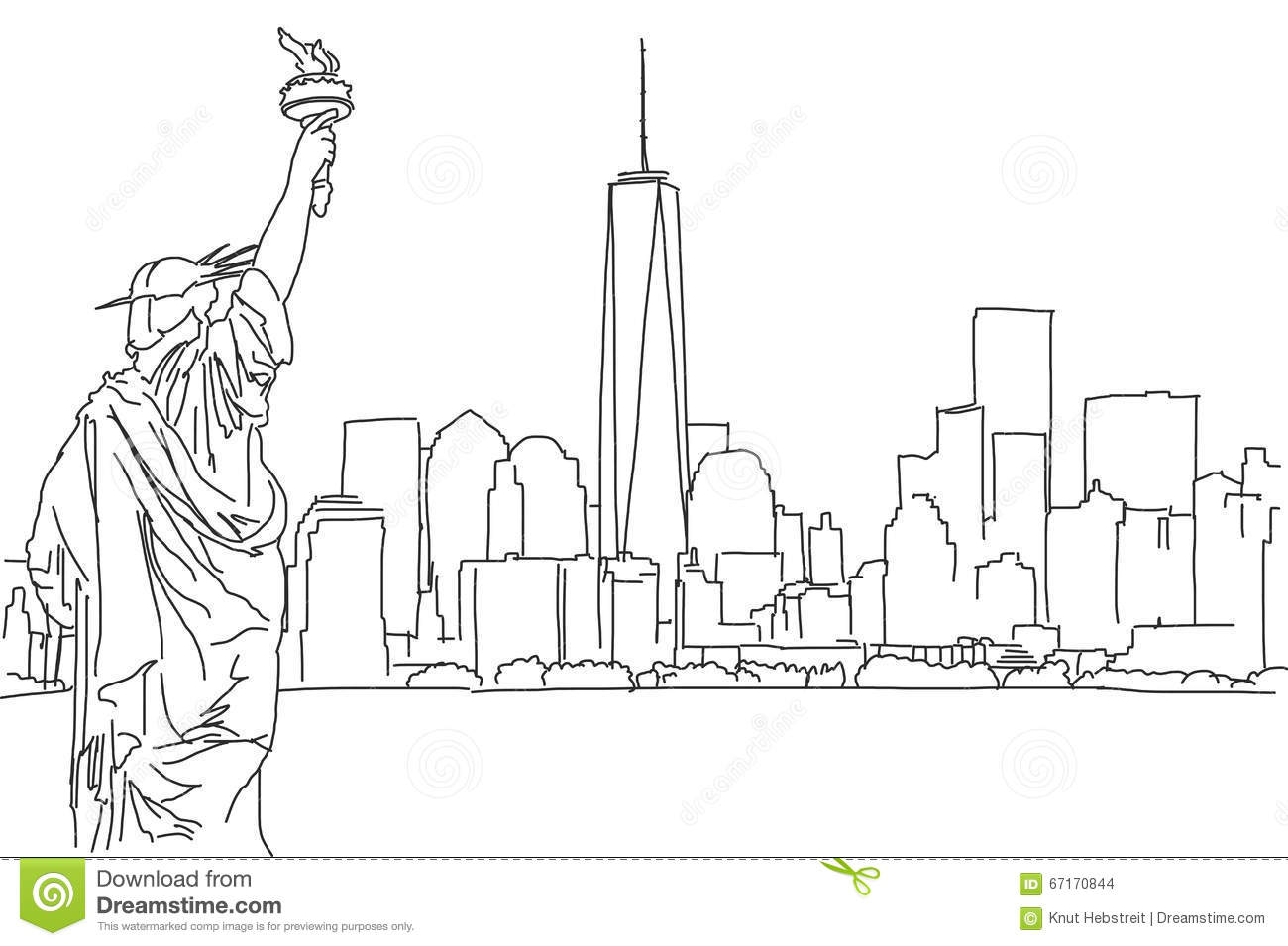 Free Hand Sketch Of New York City Skyline Vector Scribble