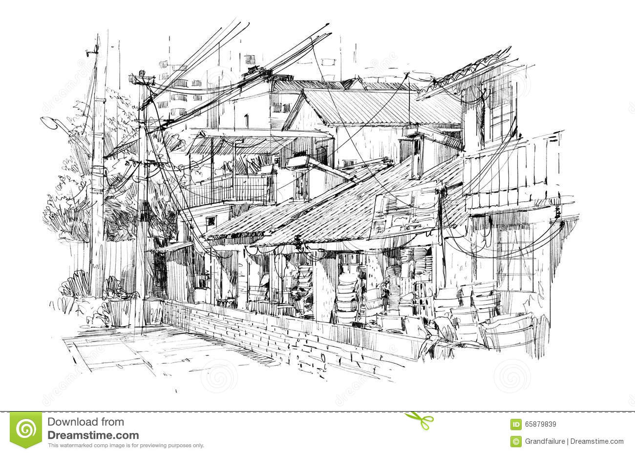 Freehand Sketch Of Old Buildings In China Stock