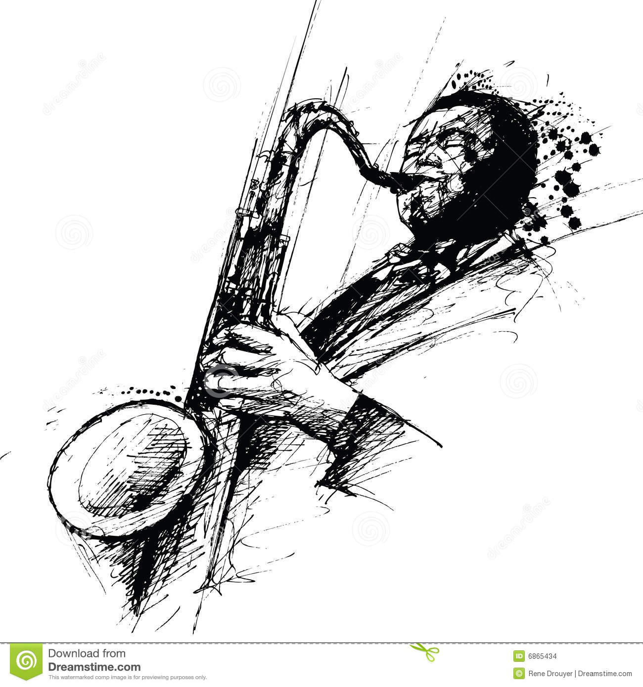Freehanding Drawing Of A Jazz Saxophonist Stock