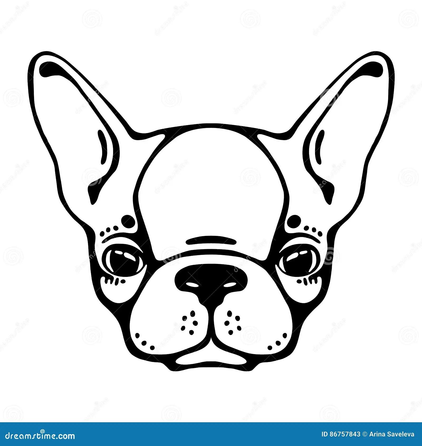 Bulldog Head Monochrome Cartoon Vector