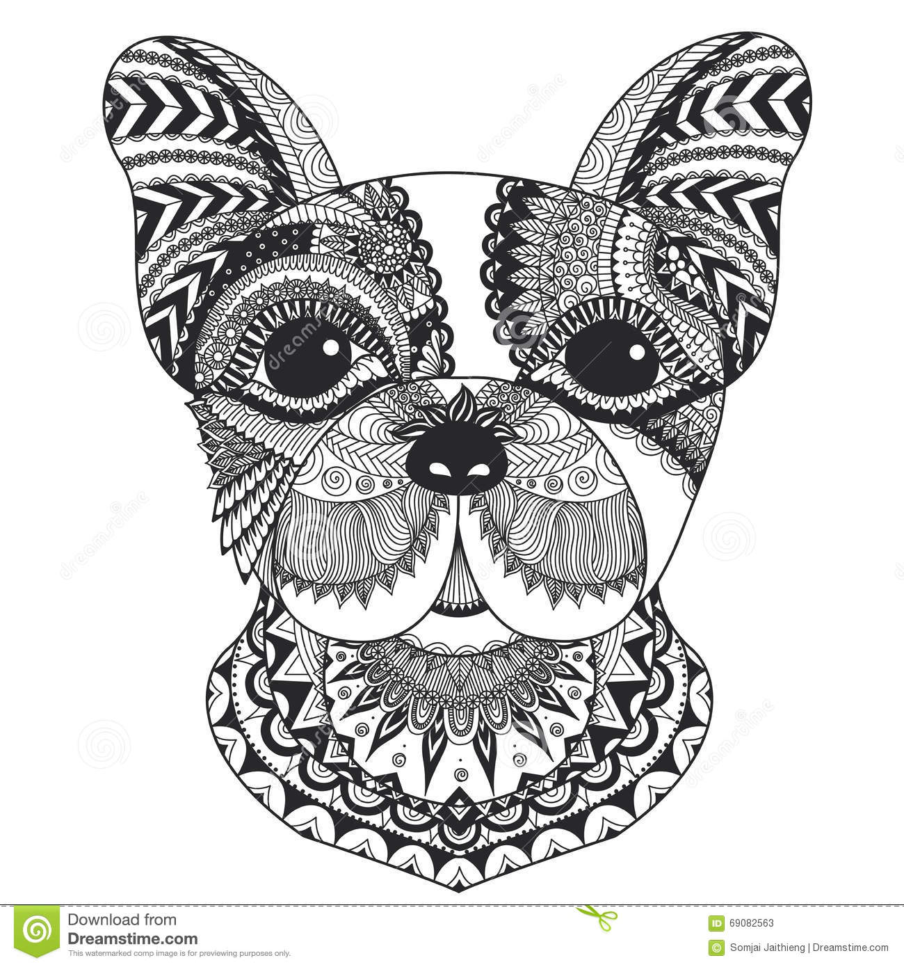 French Bulldog Line Art Design For Coloring Book For Adult