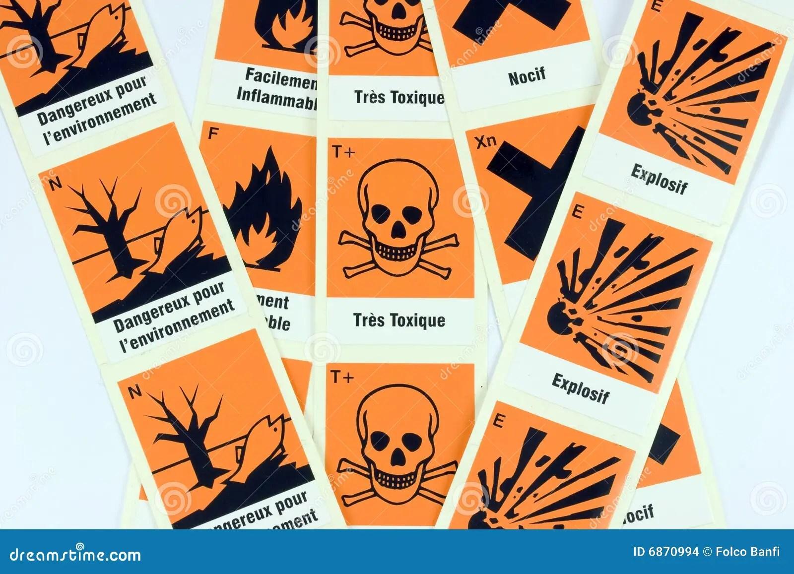 French Chemical Danger Symbols Stock Illustration