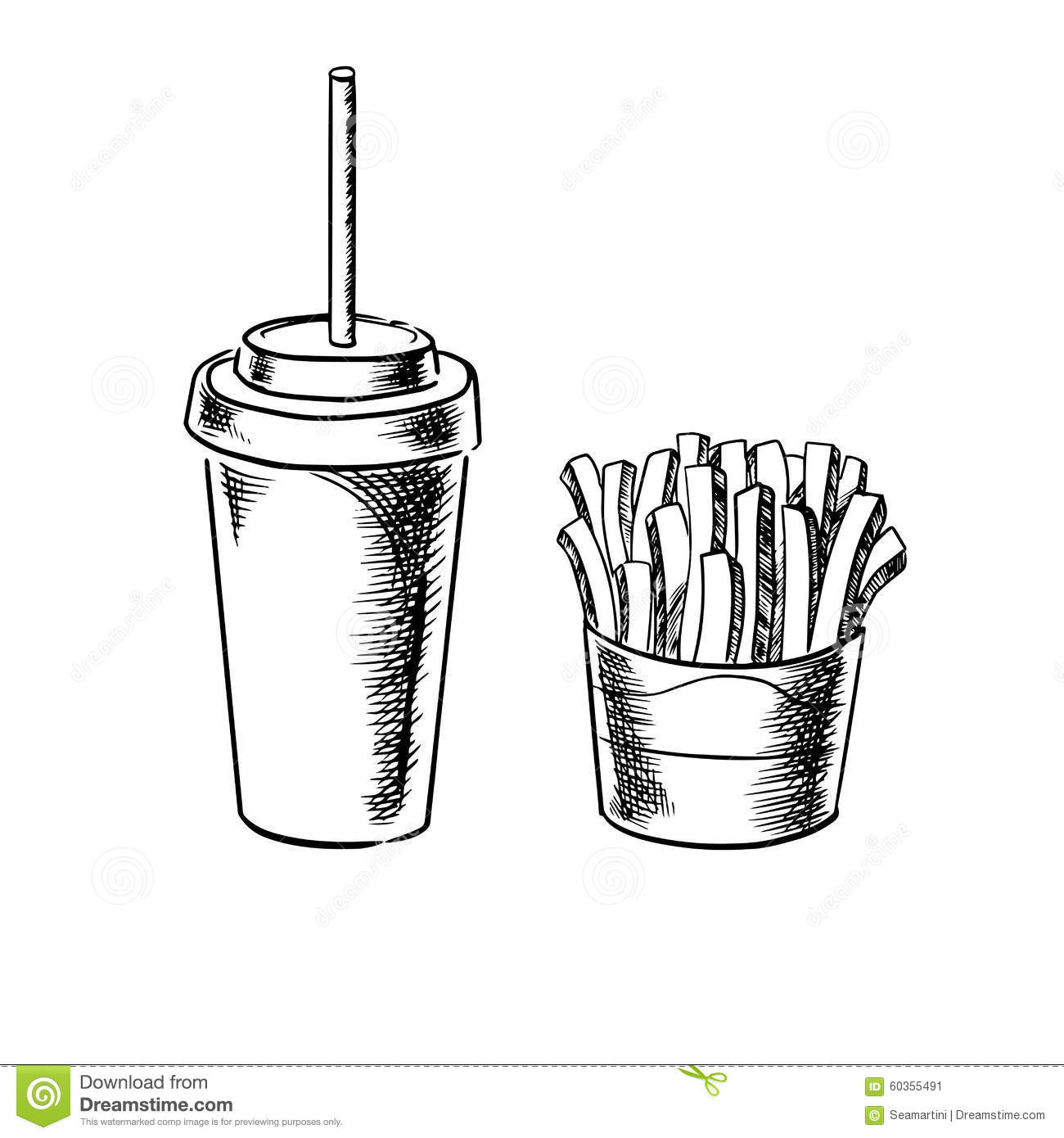 French Fries And Cold Soda Drink Sketches Stock Vector