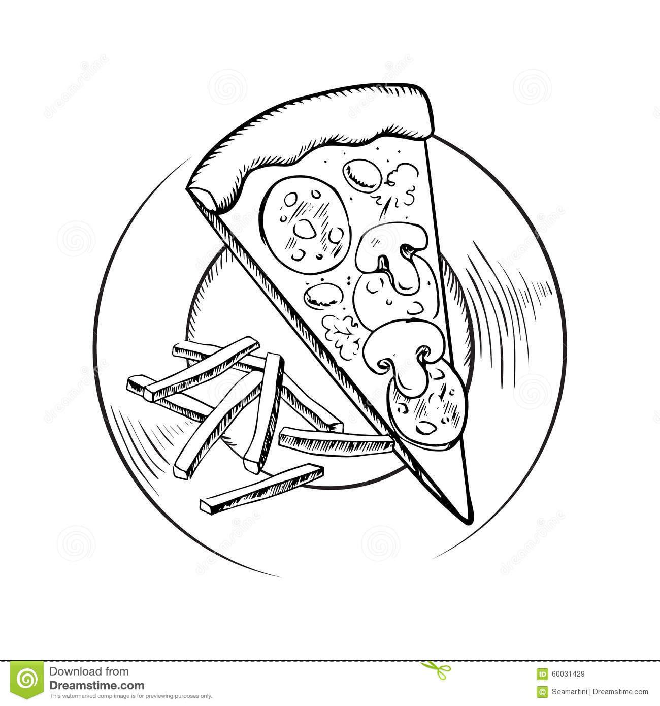 French Fries And Italian Pepperoni Pizza Sketch Stock