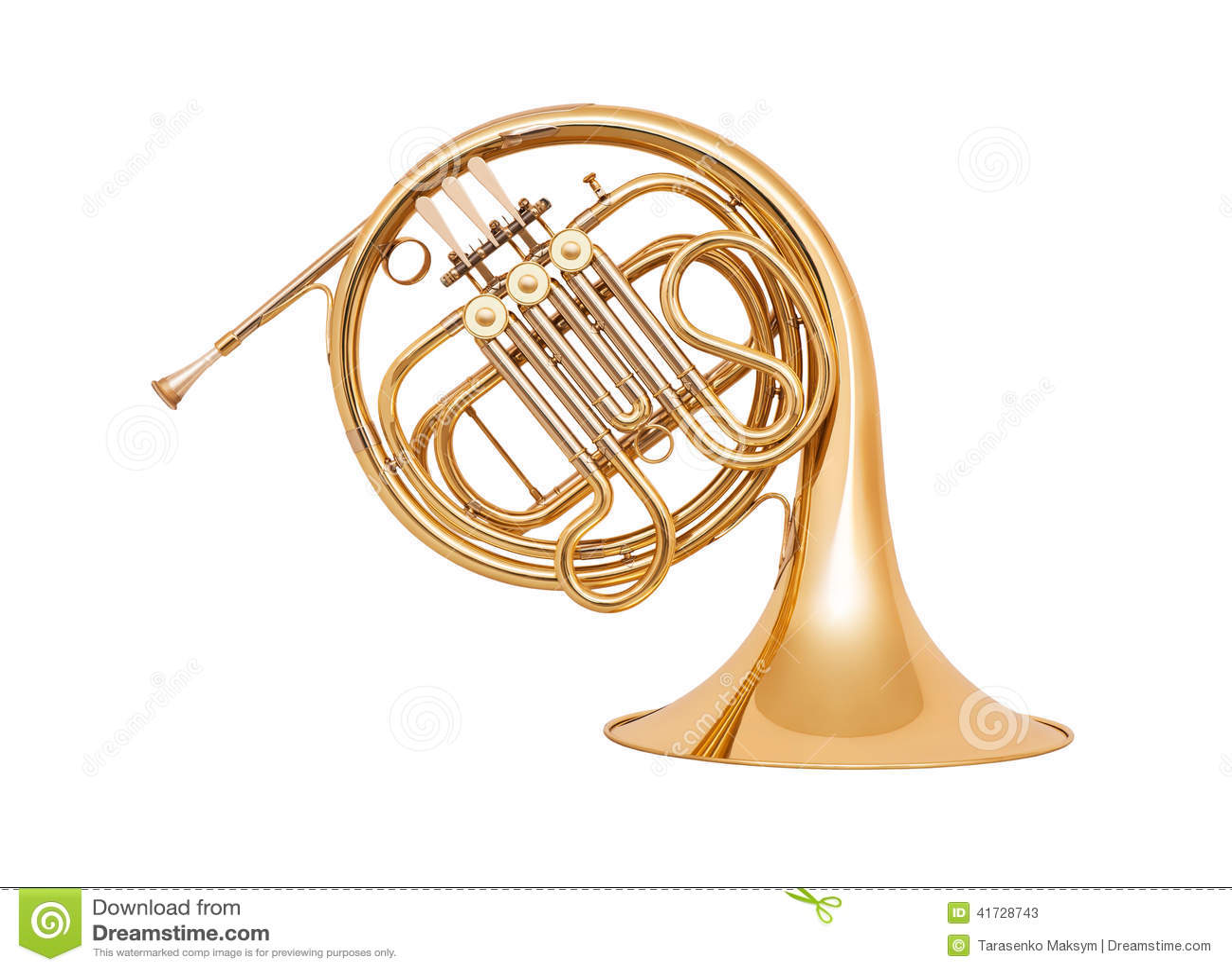 French Horn On White Background Stock Image Image 41728743