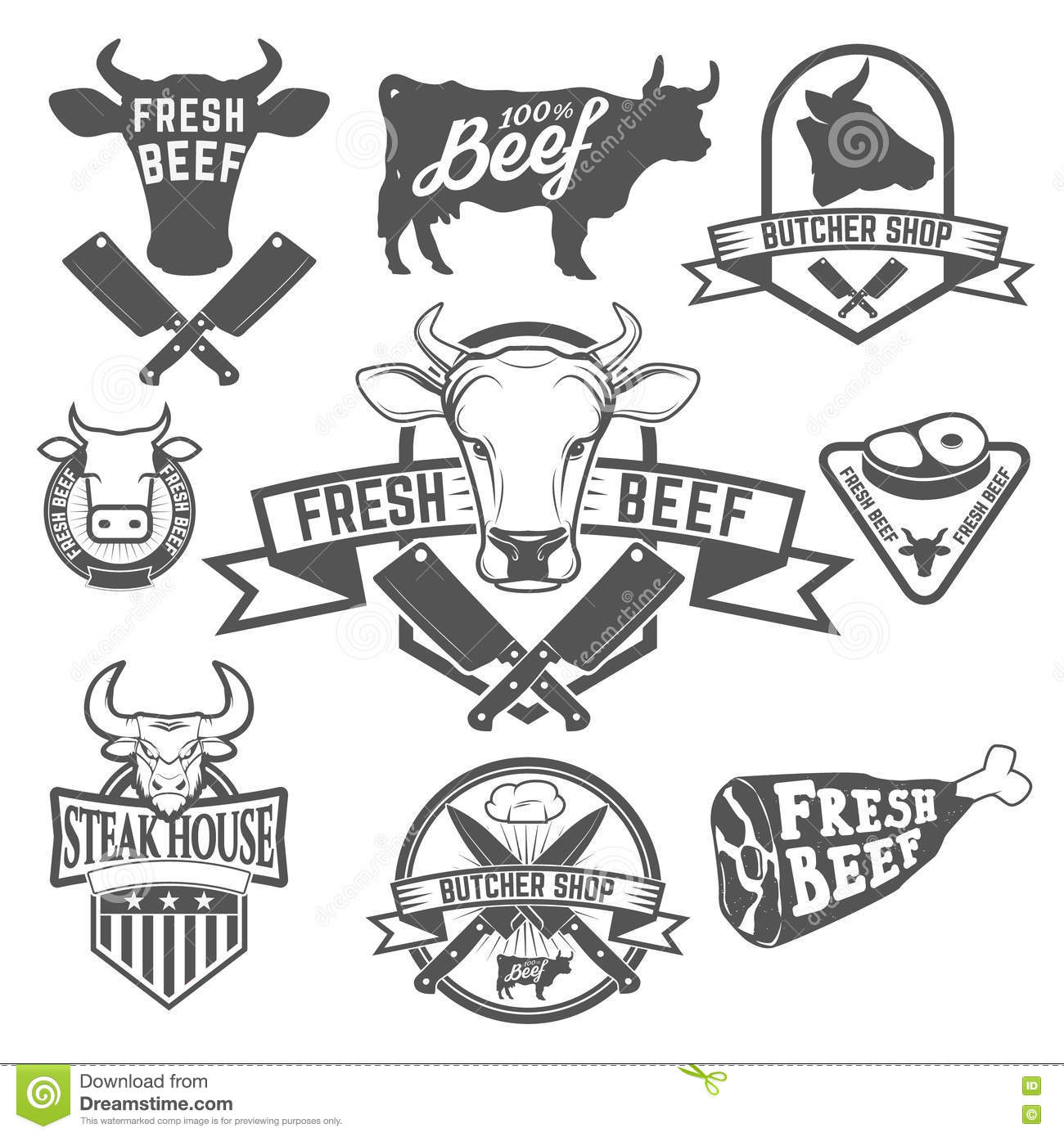 Fresh Beef Labels Butchery Store Labels Cow Heads Icons