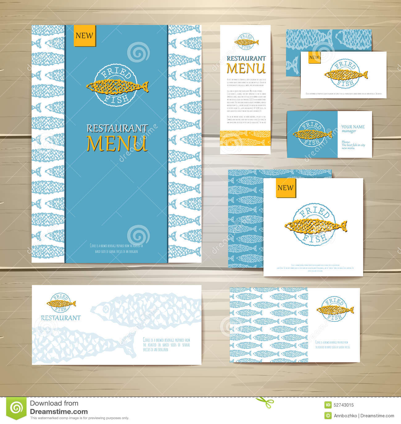 Fried Fish Restaurant Menu Concept Design Corporate Identity Stock Vector Illustration Of