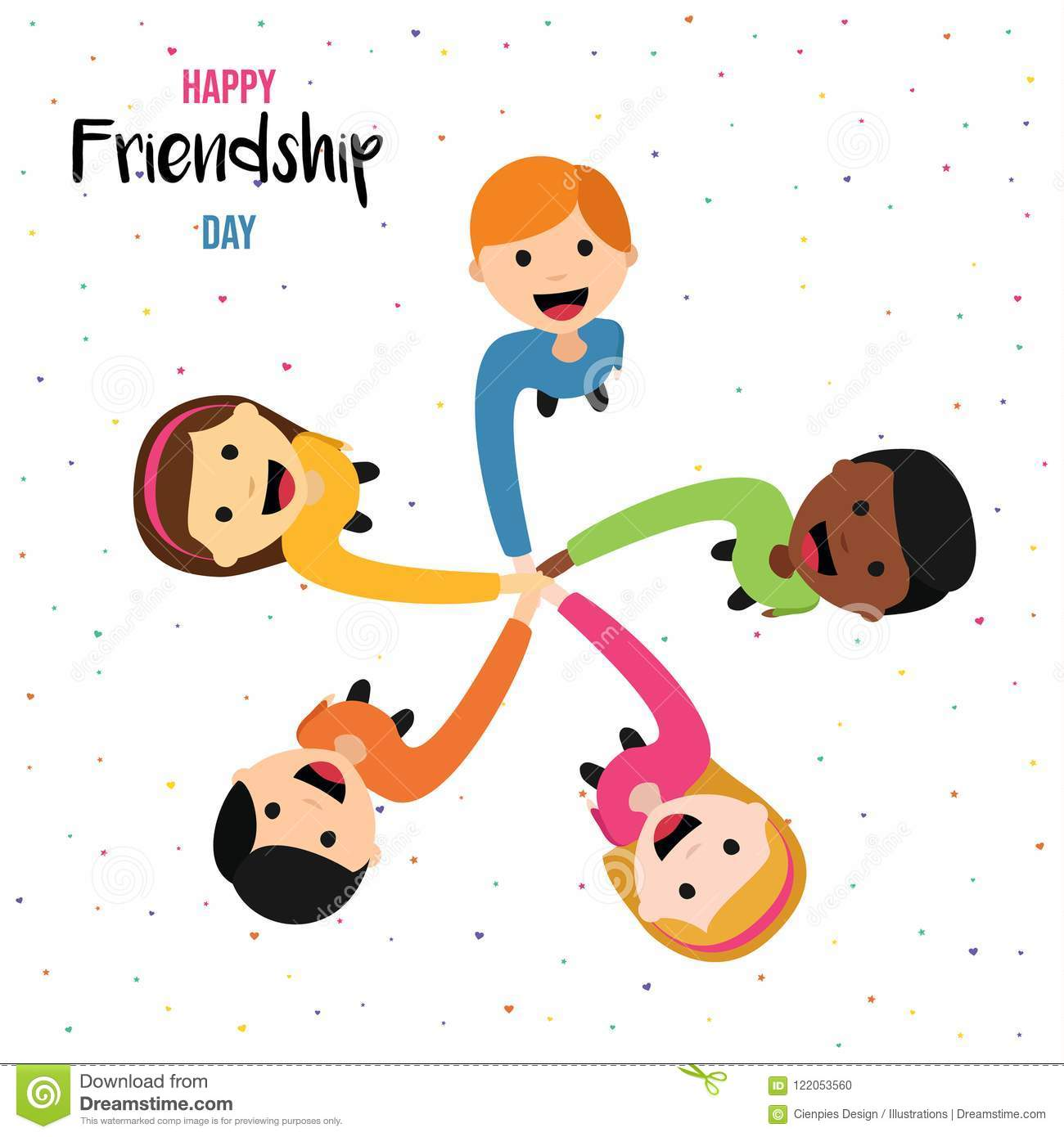 Friendship Day Card Of Happy Kid Friends Together Stock
