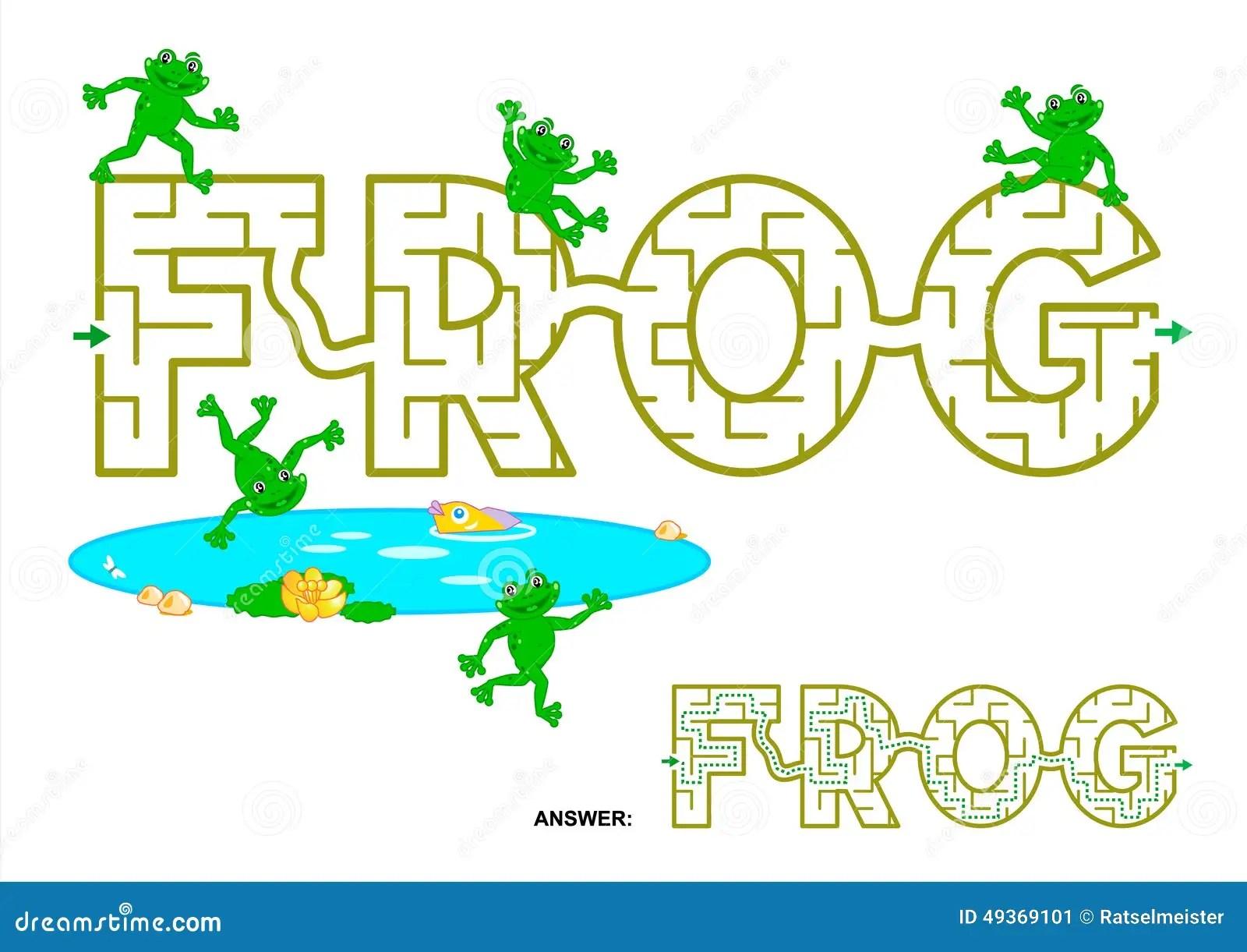 Frog Word Maze For Kids Stock Vector