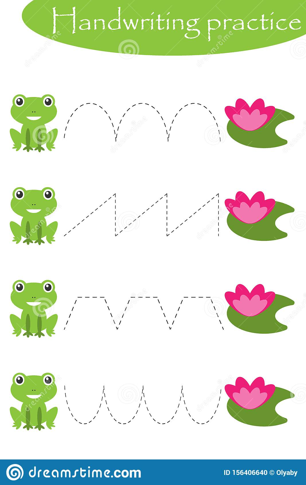 Frogs And Water Lilies Handwriting Practice Sheet Kids