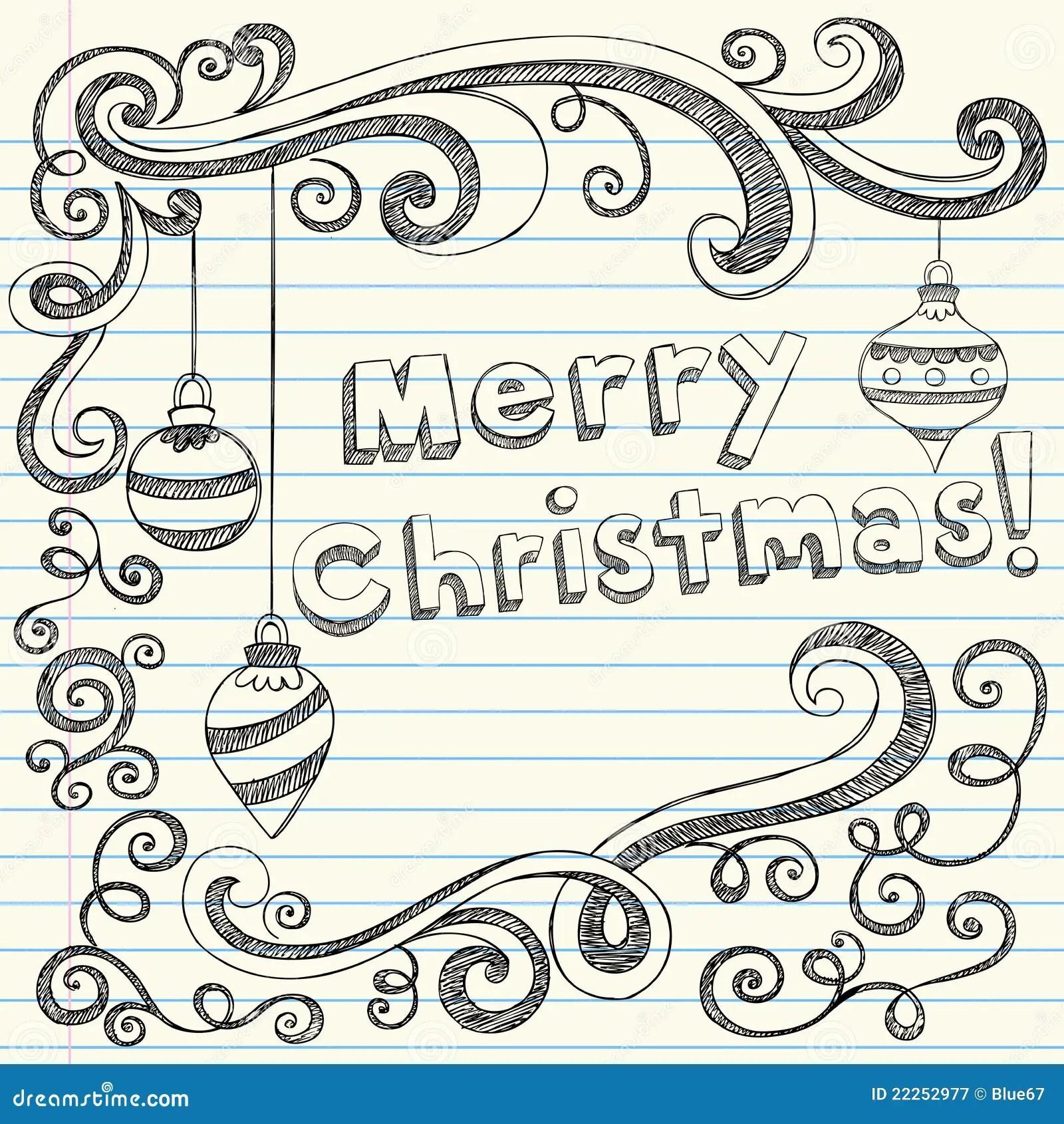 Frohe Weihnacht Von Hand Gezeichnet Flchtige Gekritzel