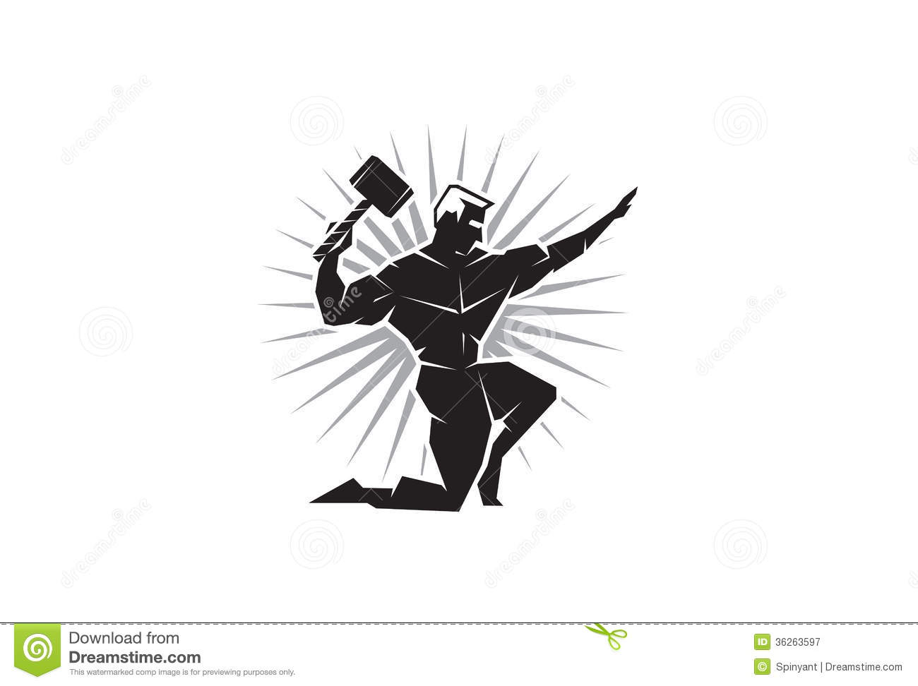 Front View Of Greek God Thor Stock Vector