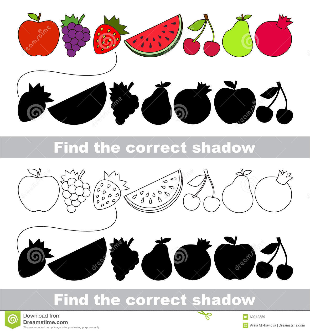 Fruit Collection Find Correct Shadow Stock Vector