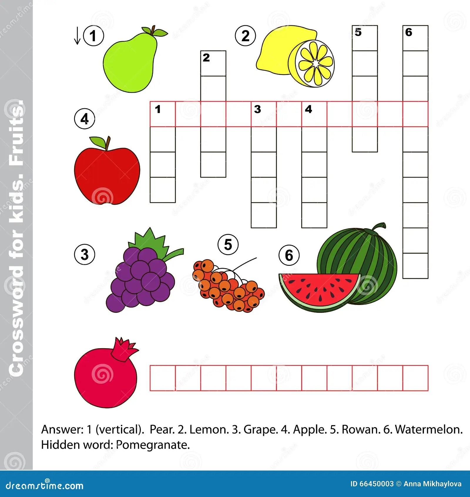 Fruit Crossword For Kids Stock Vector Illustration Of