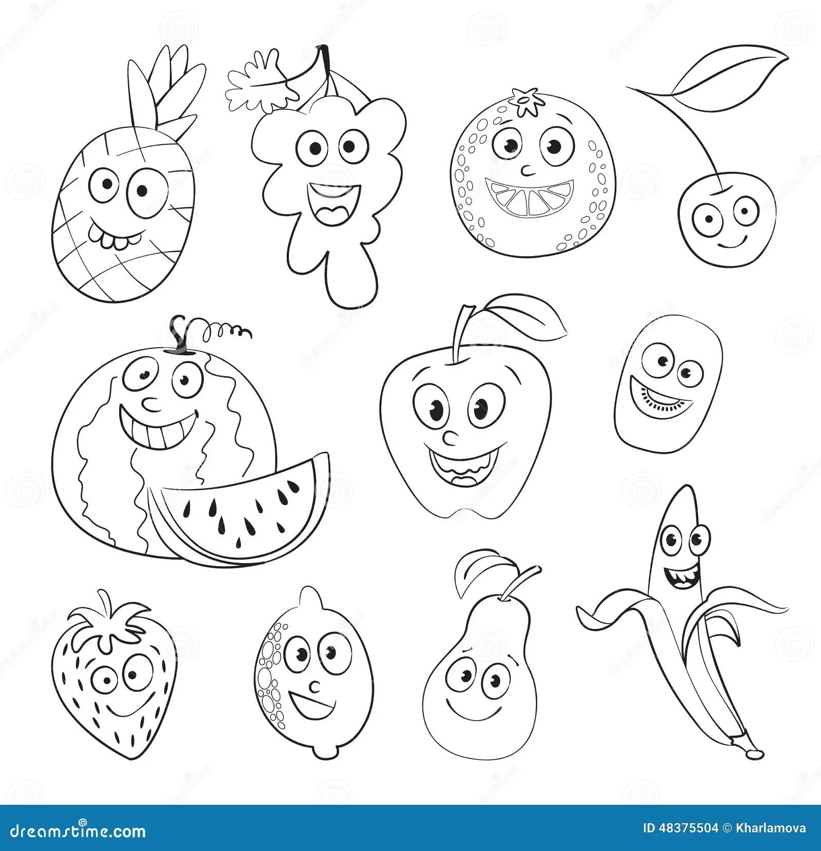 Fruit Funny Cartoon Character Stock Vector