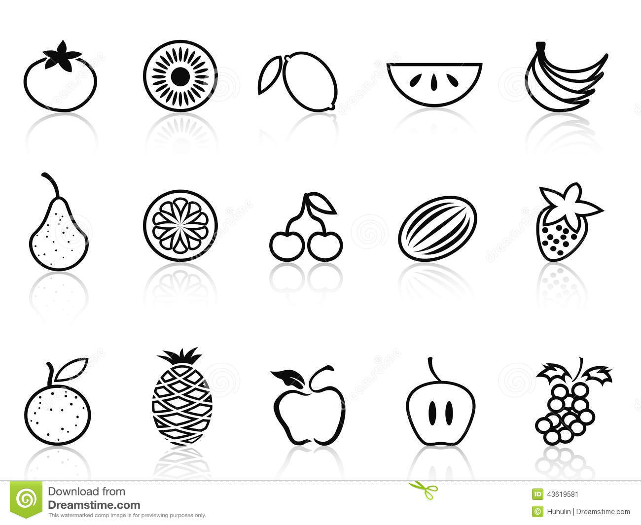 Fruit Outline Icons Set Stock Vector