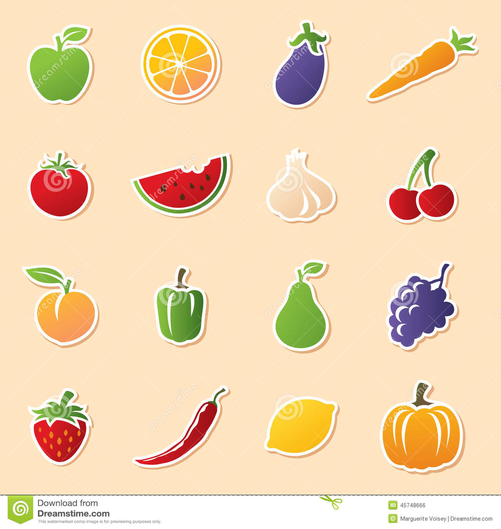 Fruit Amp Veg Cutouts Stock Vector Illustration Of Peach