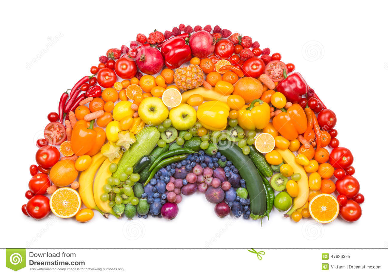 Fruit And Vegetable Rainbow Stock Image