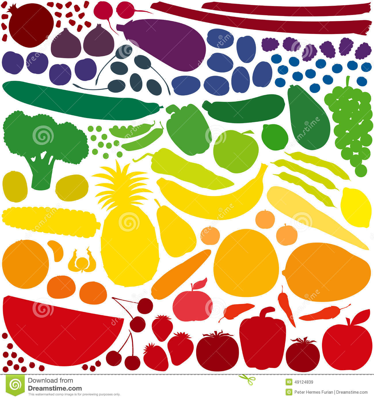 Fruit Vegetables Rainbow Colors Stock Vector
