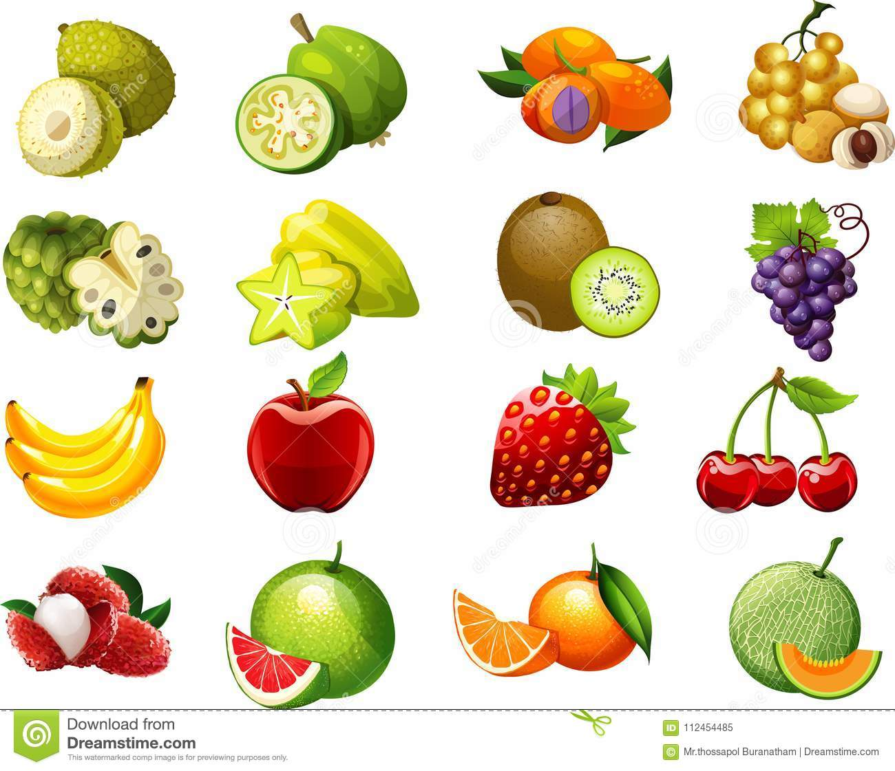 Fruits Cartoon Collection Two For Kids Stock Illustration