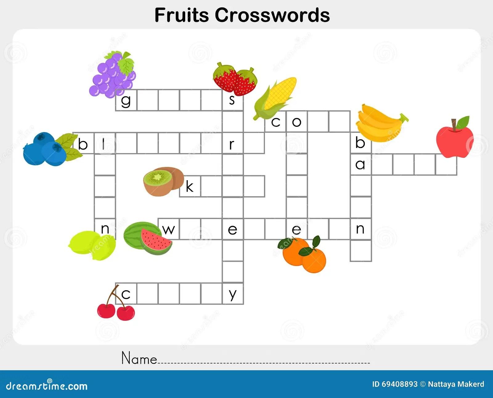 Fruits Crosswords Worksheet Stock Vector