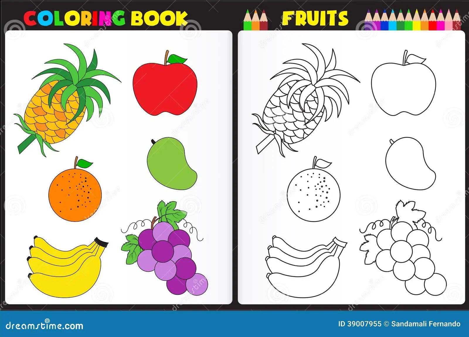 Fruits De Page De Livre De Coloriage Illustration De