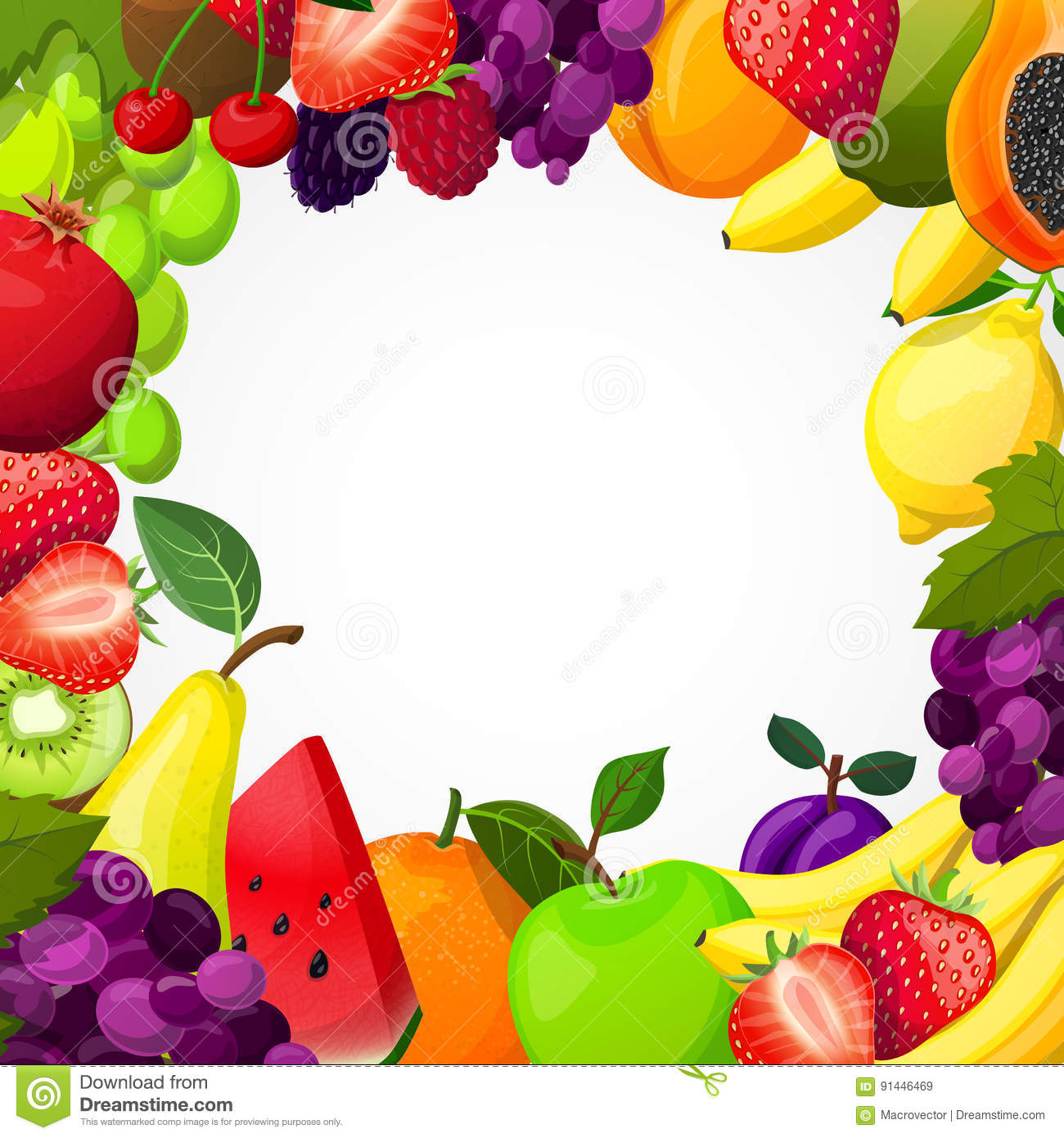 Fruits Frame Template Stock Vector Illustration Of Healthy