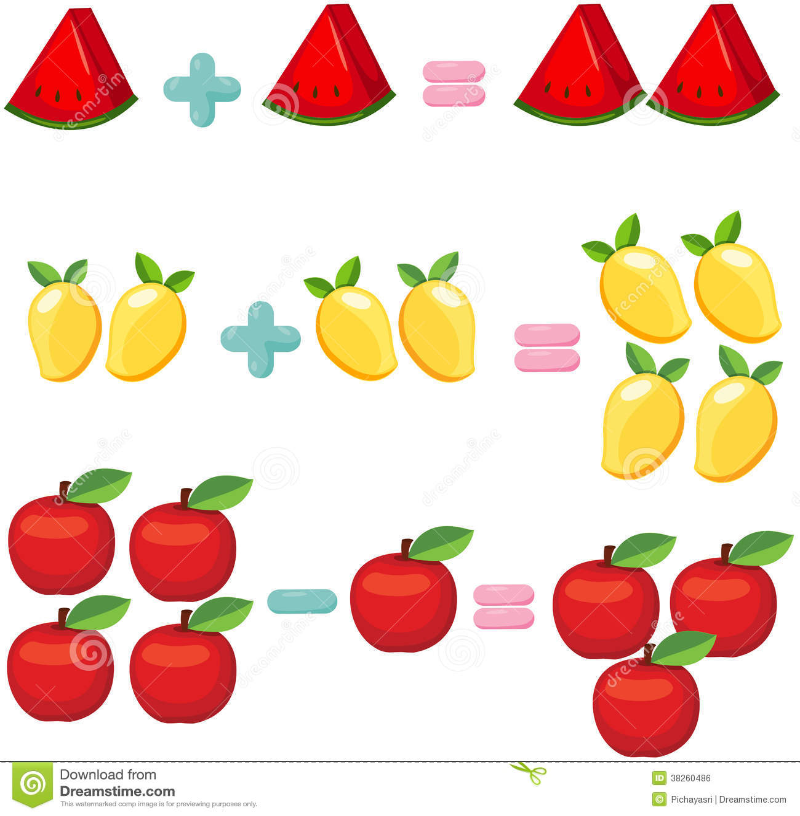 Fruits Pour Apprendre Des Mathematiques Illustration De