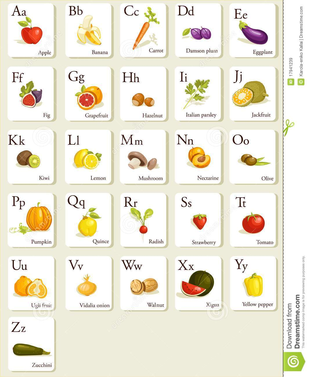 Fruits And Vegetables Alphabet Cards Stock Vector