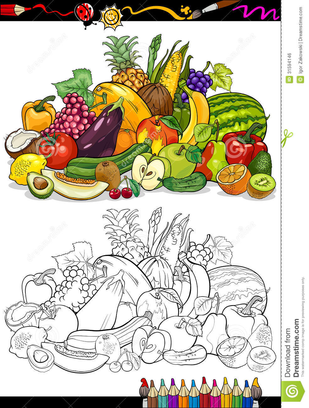 Fruits And Vegetables For Coloring Book Royalty Free Stock