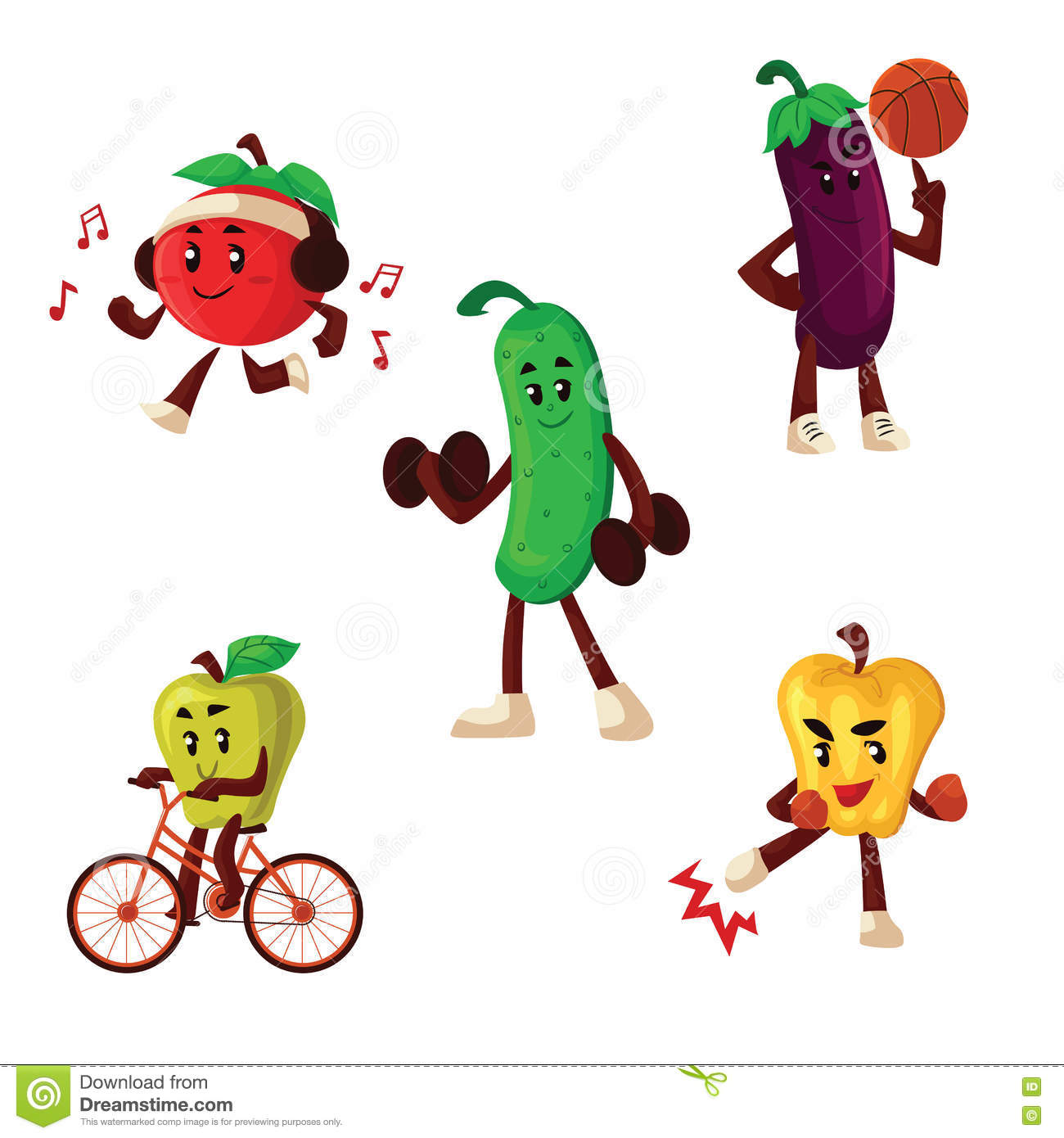 Fruits And Vegetables Doing Sport Exercises Stock Vector
