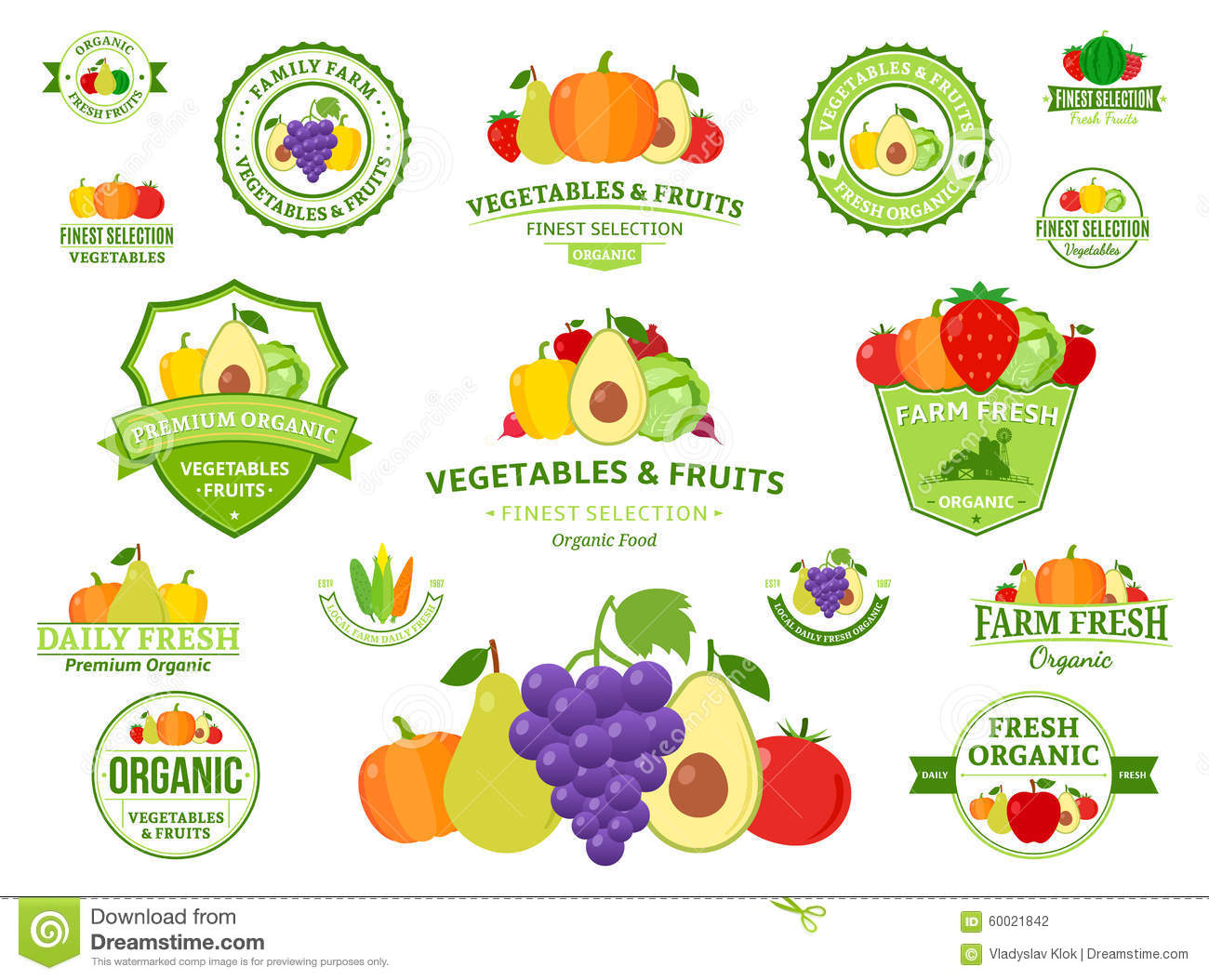 Fruits And Vegetables Logos Labels Fruits And Vegetables