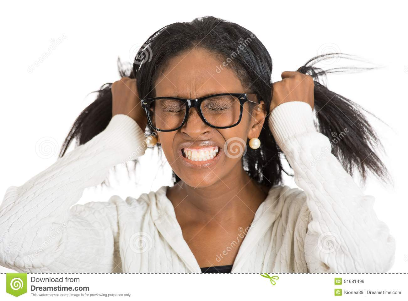 Frustrated Stressed Woman With Glasses Pulling Her Hair