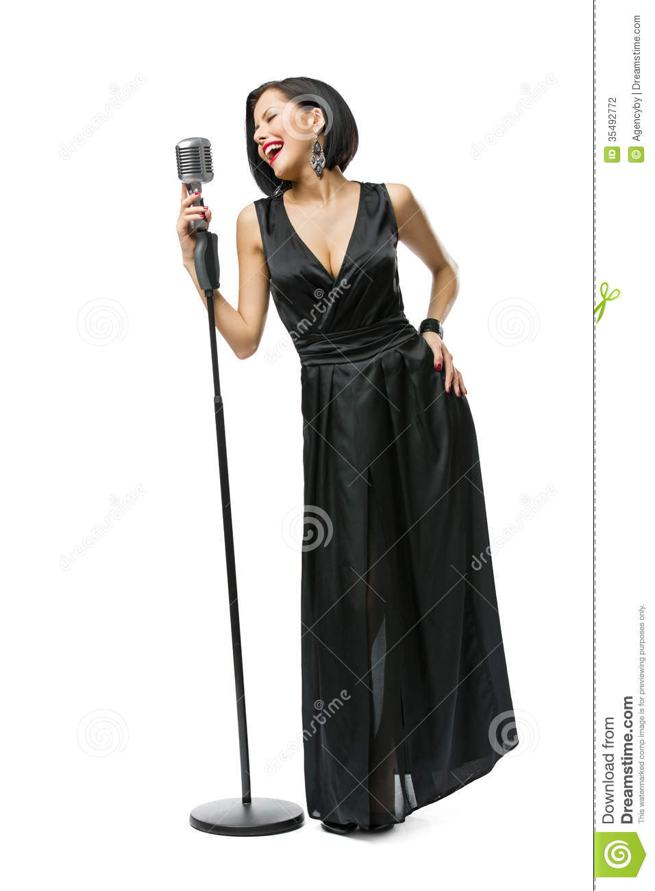 Full Length Portrait Of Female Singer Stock Photo Image