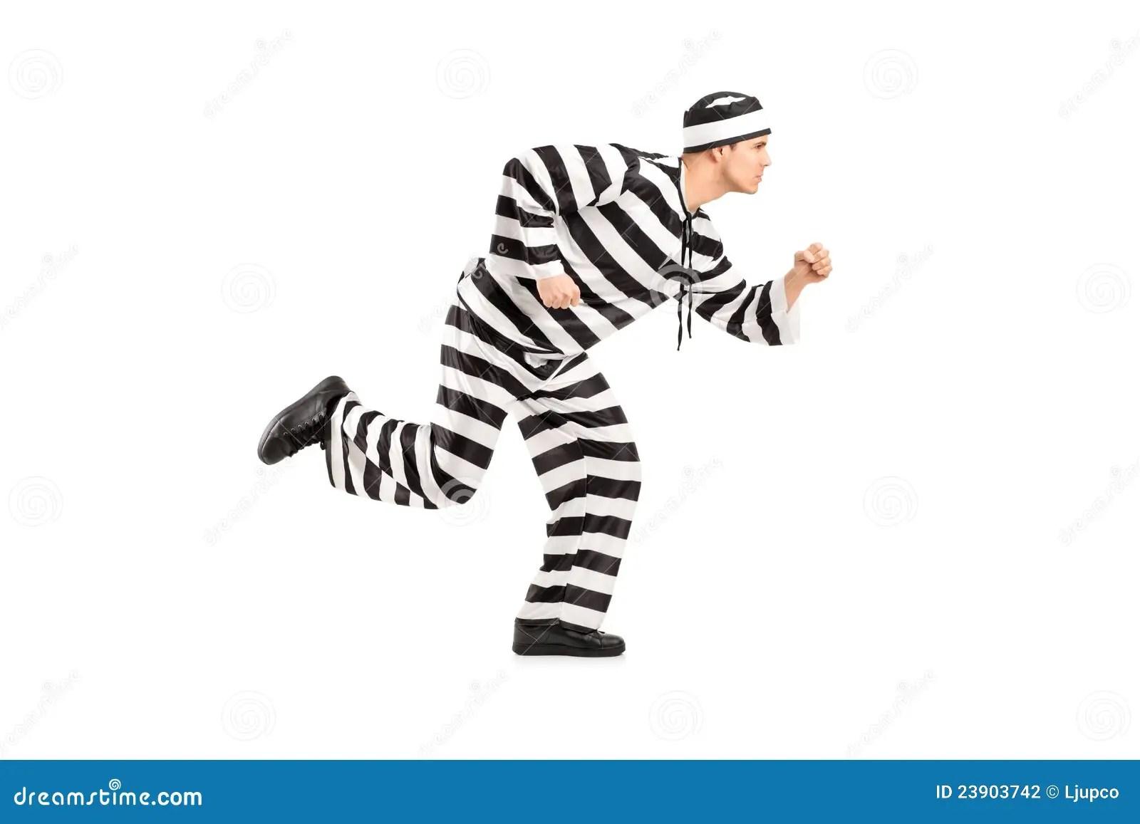 Full Length Portrait Of A Prisoner Escaping Stock Photo