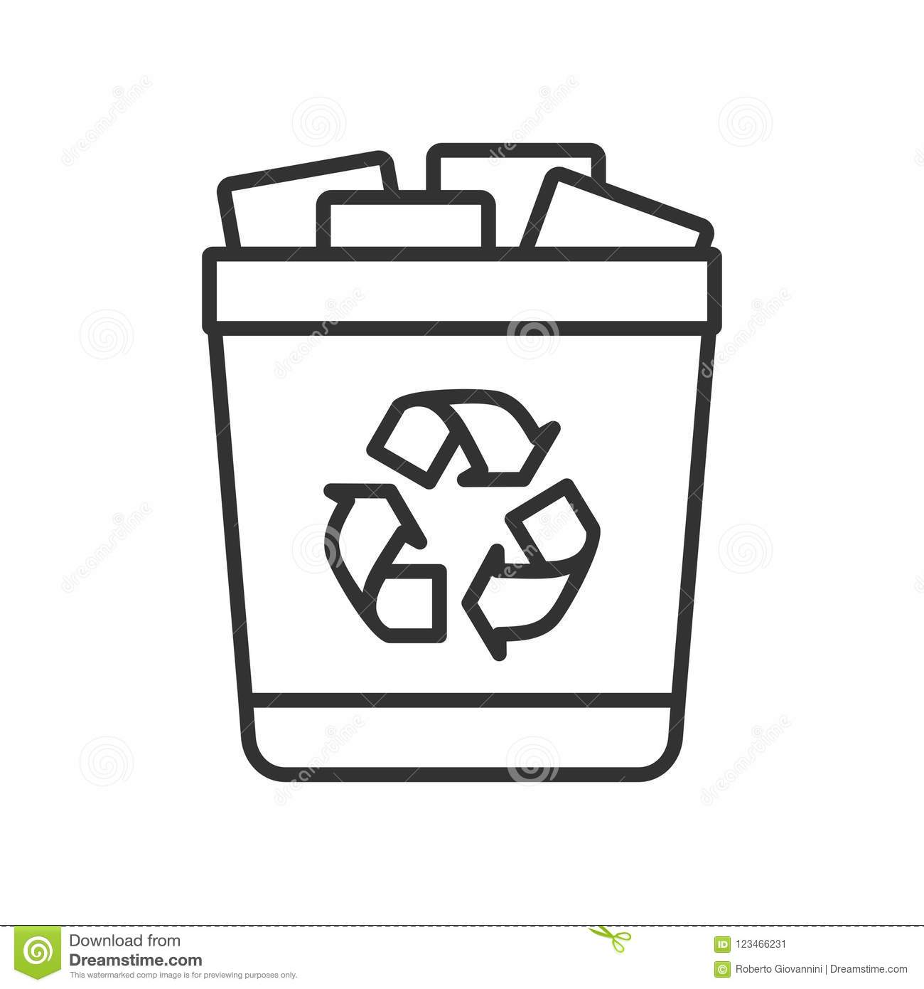 Full Trash Can Outline Flat Icon On White Stock Vector