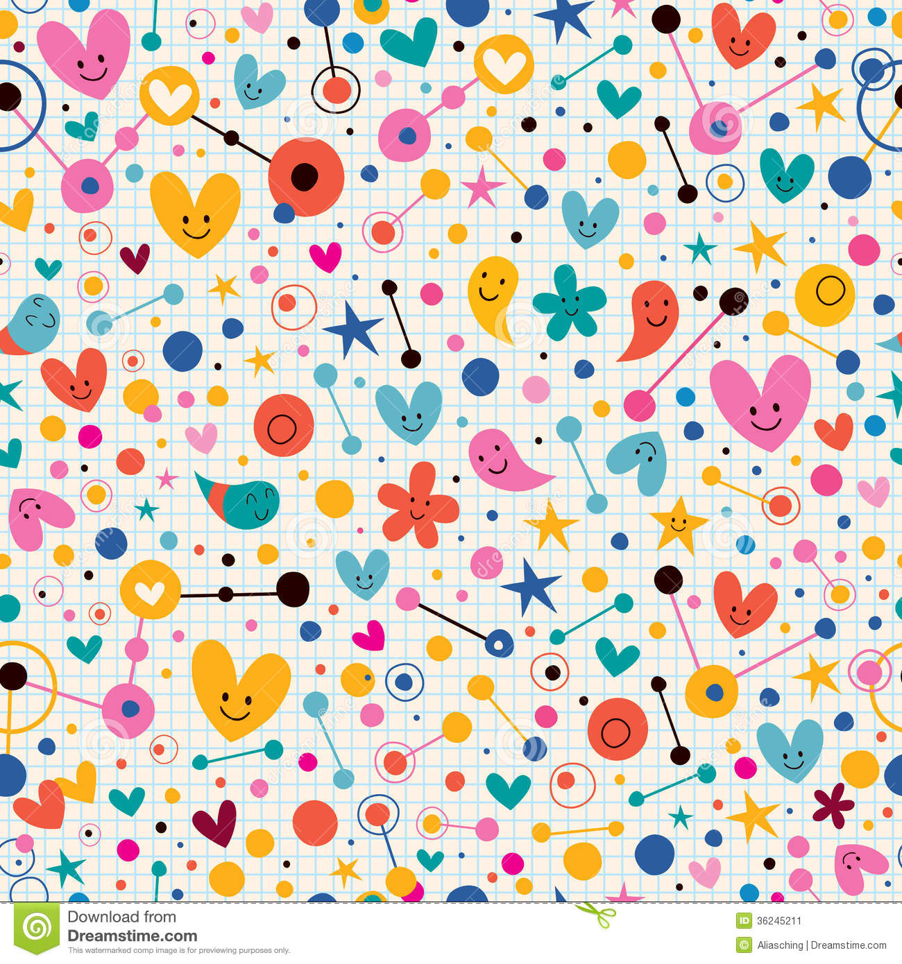 Funky Cute Cartoon Retro Note Book Paper Pattern Stock