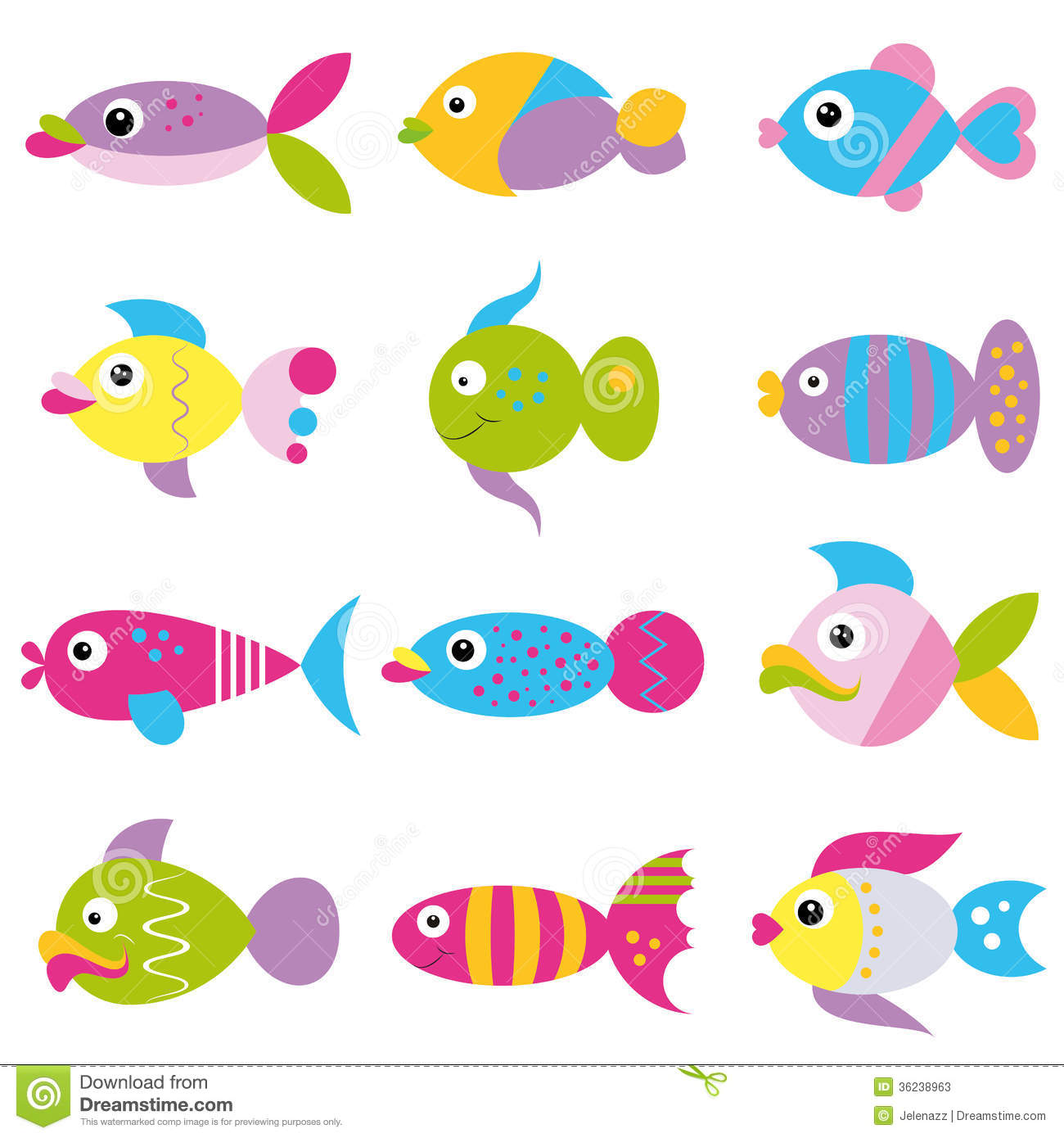Funky Fish Collection Pattern Stock Photos